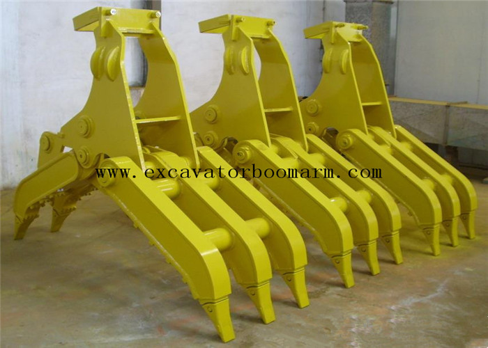 Yellow Color Excavator Rotating Grapple For Rock Grab High Performance